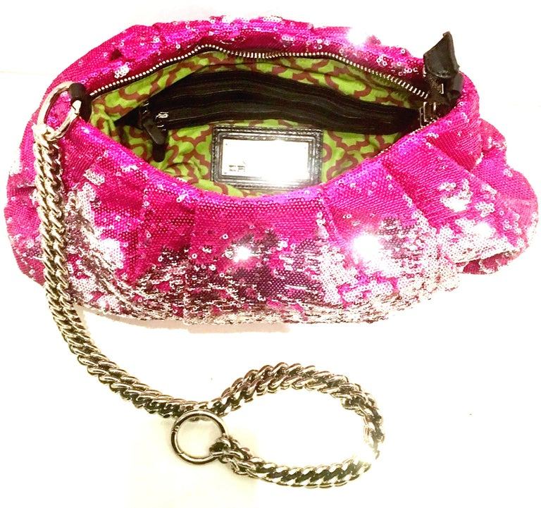 21st Century Contemporary Sequin, Leather & Chrome Hand Bag By, OrYanny For Sale 3