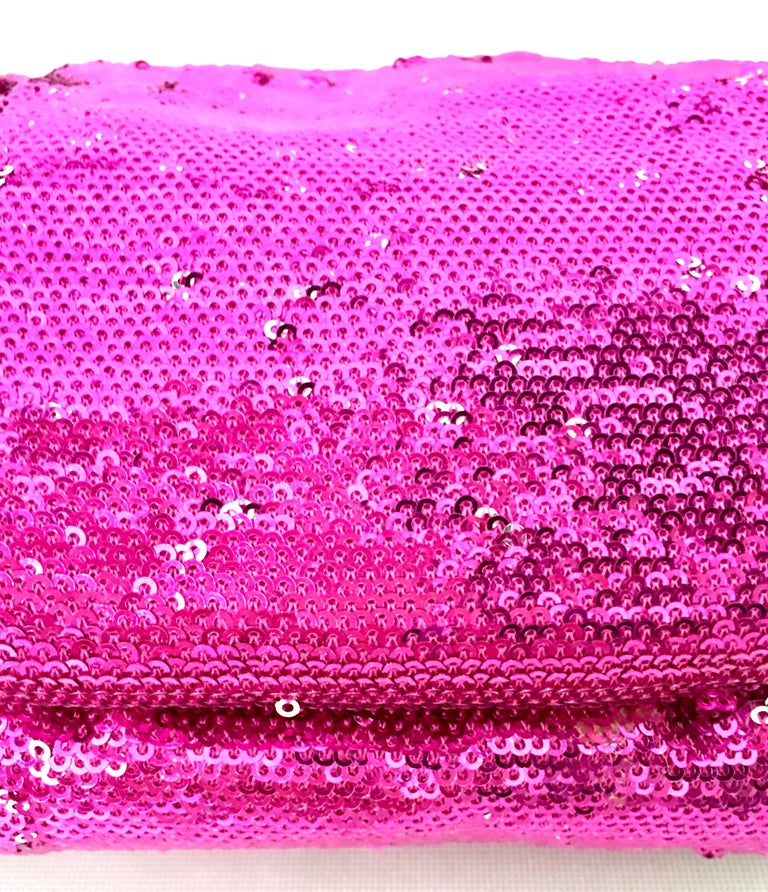 21st Century Contemporary Sequin, Leather & Chrome Hand Bag By, OrYanny For Sale 4
