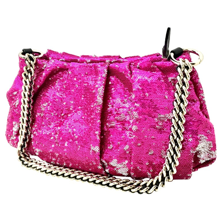 21st Century Contemporary Sequin, Leather & Chrome Hand Bag By, OrYanny For Sale