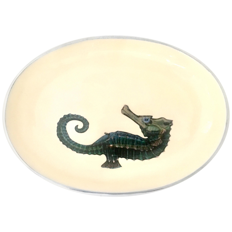 21st Century Contemporary Silver & Enamel Sea Horse Oval Bowl