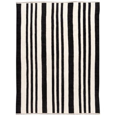 21st Century Contemporary Striped Kilim Flat-Weave Wool Rug