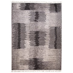 21st Century Contemporary Textured Ribbed Wool Rug