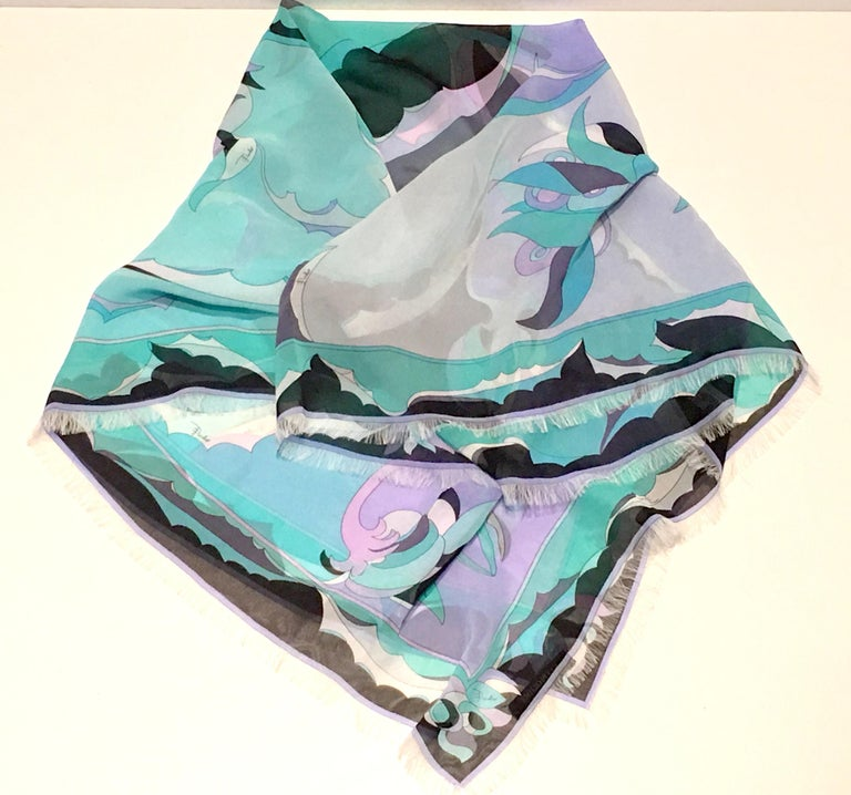 Gray 21st Century Contempory Geometric Print Silk Chiffon Scarf By, Pucci For Sale