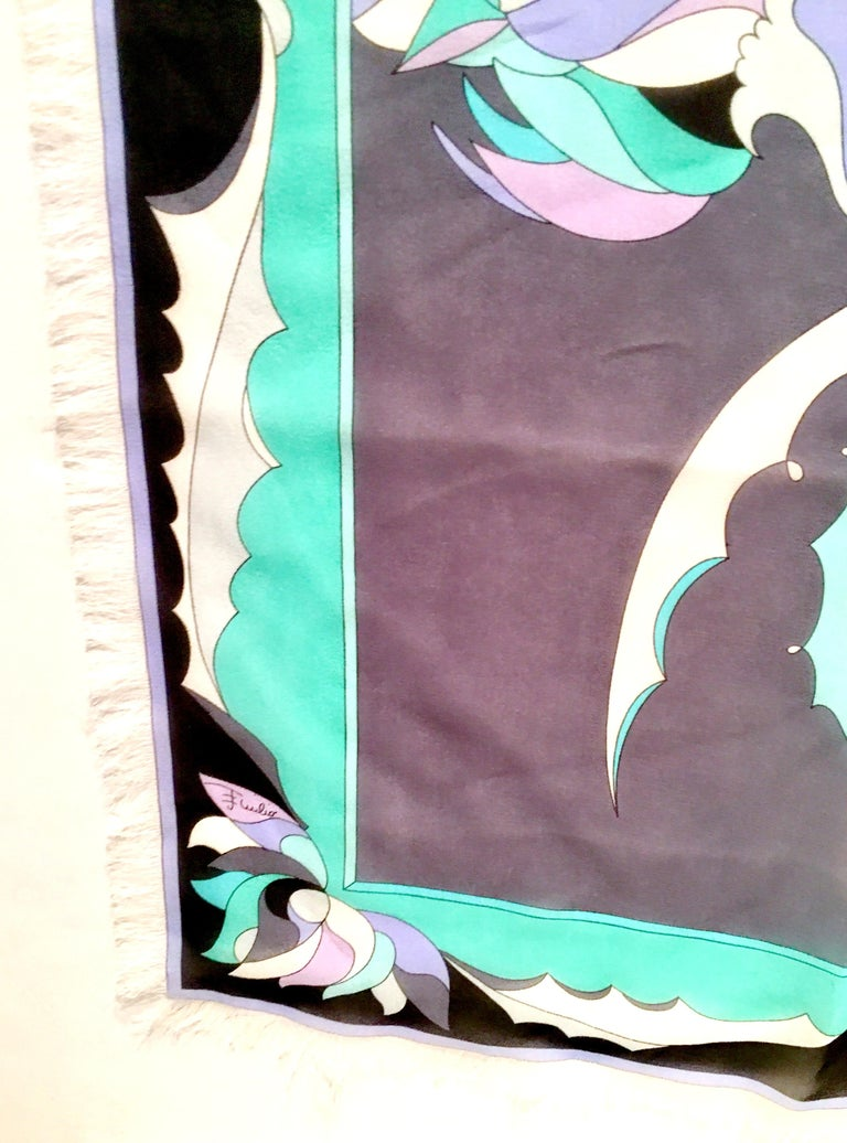 Women's or Men's 21st Century Contempory Geometric Print Silk Chiffon Scarf By, Pucci For Sale