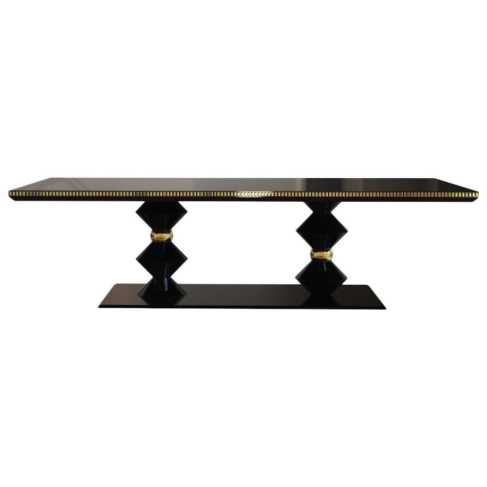 21st Century Cortez Dining Table Lacquered Wood Gold leaf