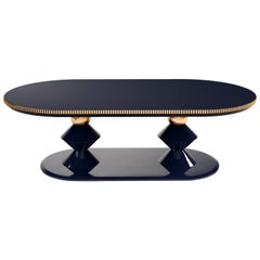 21st Century Cortez II Dining Table Lacquered Wood Gold Leaf