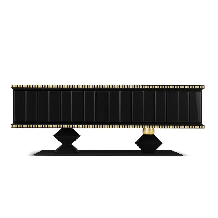 Portuguese 21st Century Cortez Sideboard Lacquered Wood Gold Leaf For Sale