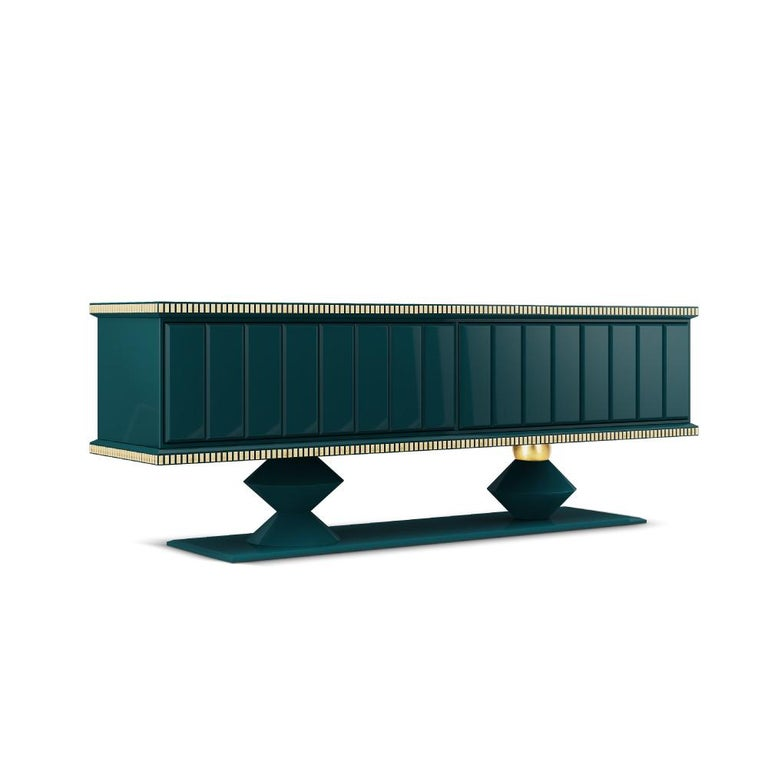 21st Century Cortez Sideboard Lacquered Wood Gold Leaf For Sale 1