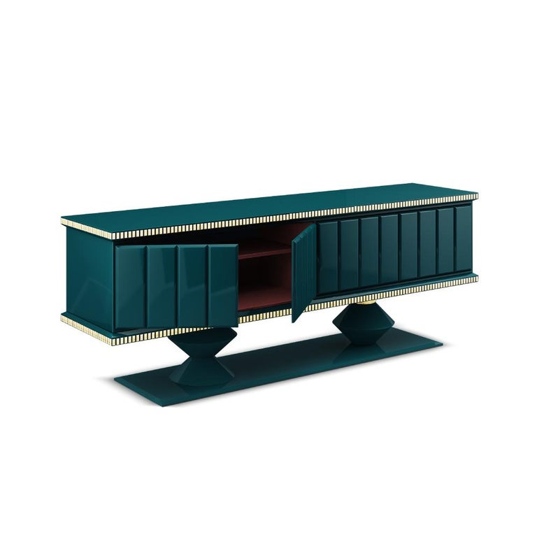 21st Century Cortez Sideboard Lacquered Wood Gold Leaf For Sale 2