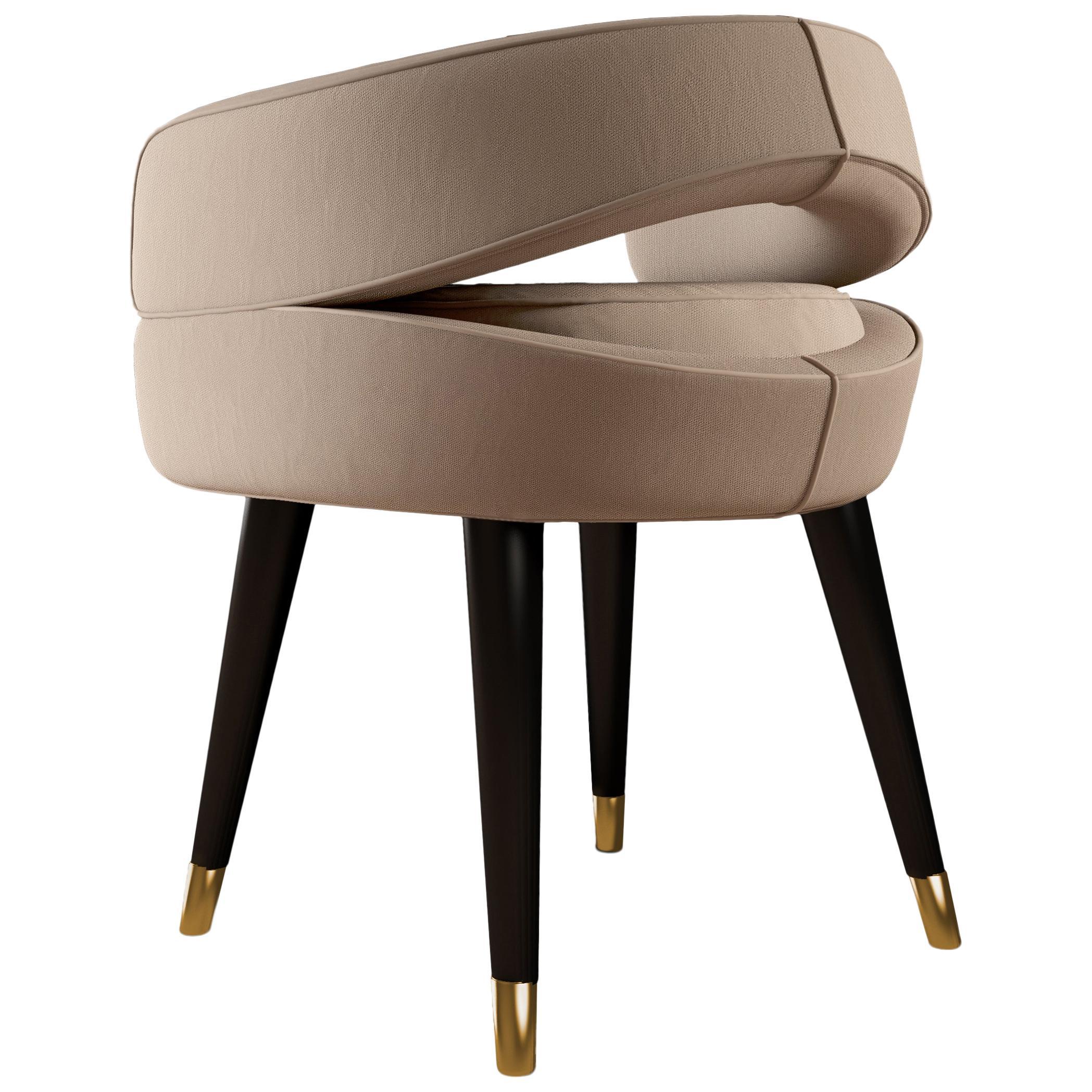 21st Century Cotton Velvet Bobbie Dining Chair Walnut Wood