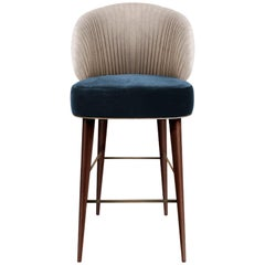 21st Century Cotton Velvet Canyon Bar Chair Walnut Wood