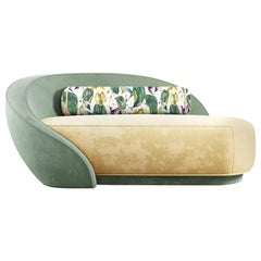 21st Century Cotton Velvet Nancy Chaise Longue Walnut Wood