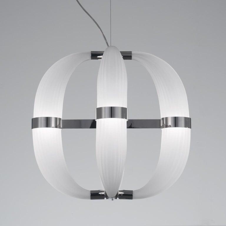 Modern 21st Century Coup de Foudre white blown glass chandelier by Roberto Lazzeroni  For Sale