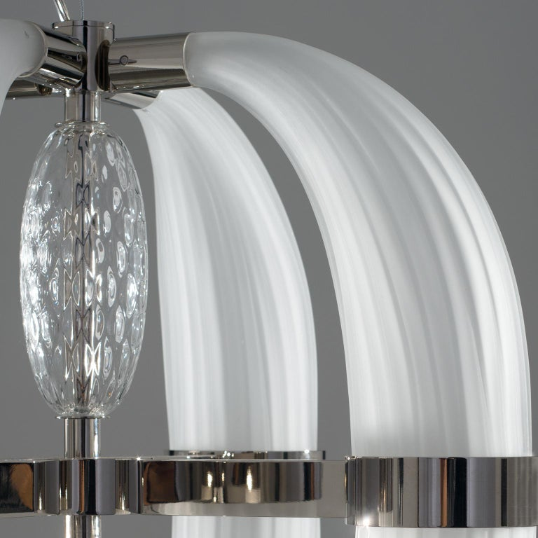 Hand-Crafted 21st Century Coup de Foudre white blown glass chandelier by Roberto Lazzeroni  For Sale