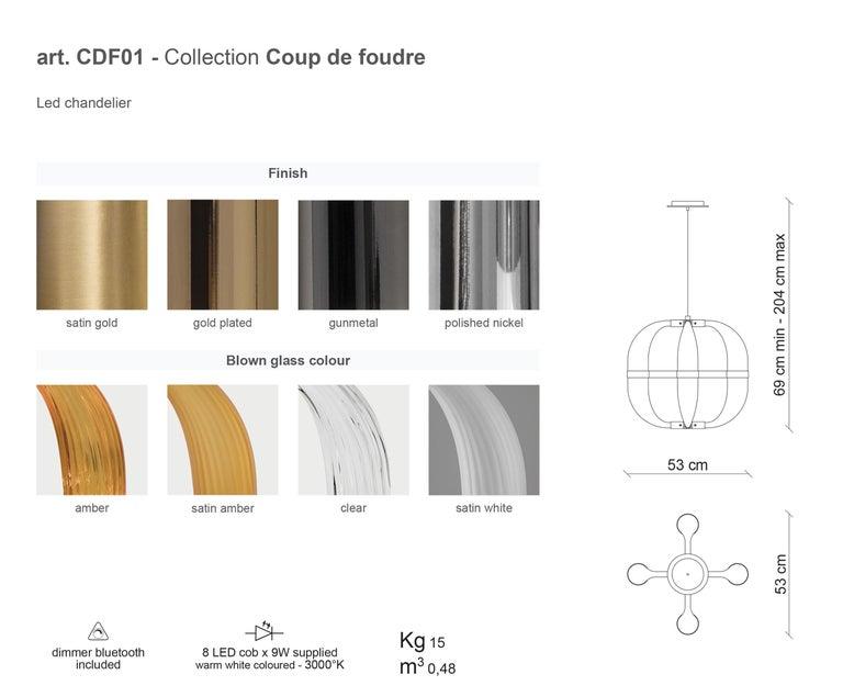 21st Century Coup de Foudre white blown glass chandelier by Roberto Lazzeroni  For Sale 1
