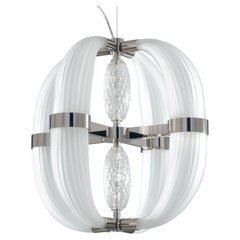 21st Century Coup de Foudre white blown glass chandelier by Roberto Lazzeroni