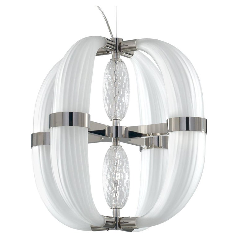 21st Century Coup de Foudre white blown glass chandelier by Roberto Lazzeroni  For Sale