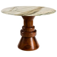 21st Century Cream Marble Round Dining Table with Sculptural Wooden Base