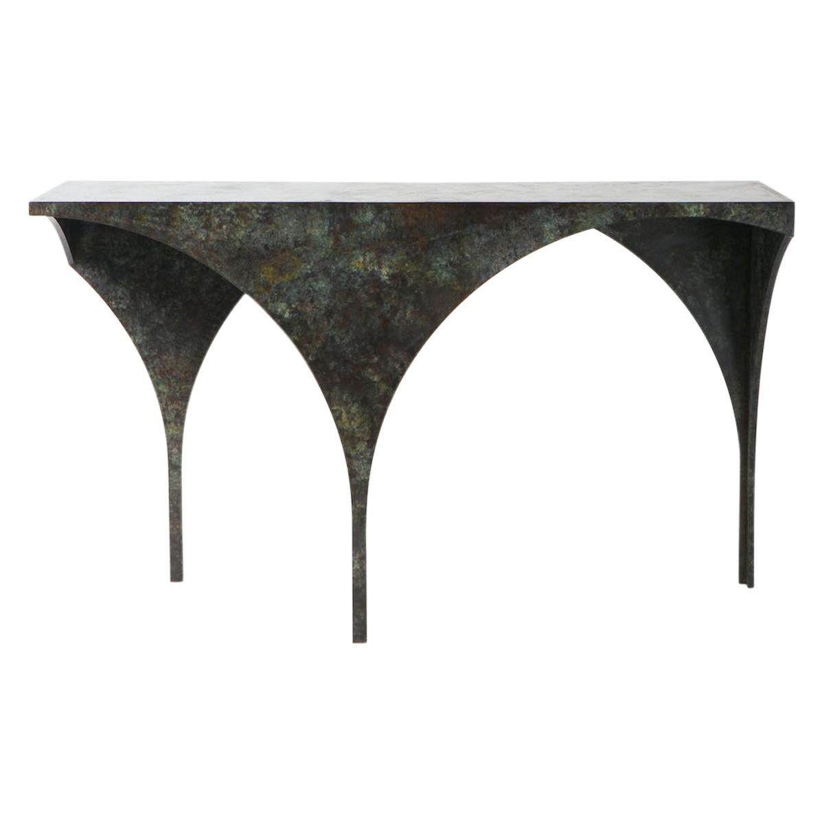 """21st Century """"Creature Table"""" by J Mc Donald Patinated Steel Side Table Console"""