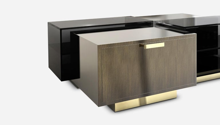 Brushed 21st Century Cubicle Center Table Aged Brass For Sale