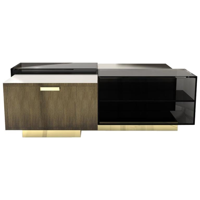 21st Century Cubicle Center Table Aged Brass For Sale