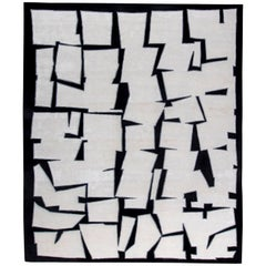 21st Century Cubist Inspired White, Black and Gray Handmade Silk and Wool Rug