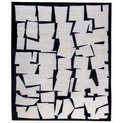 21st Century Cubist Inspired White, Black and Gray Handmade Silk and Wool Rug