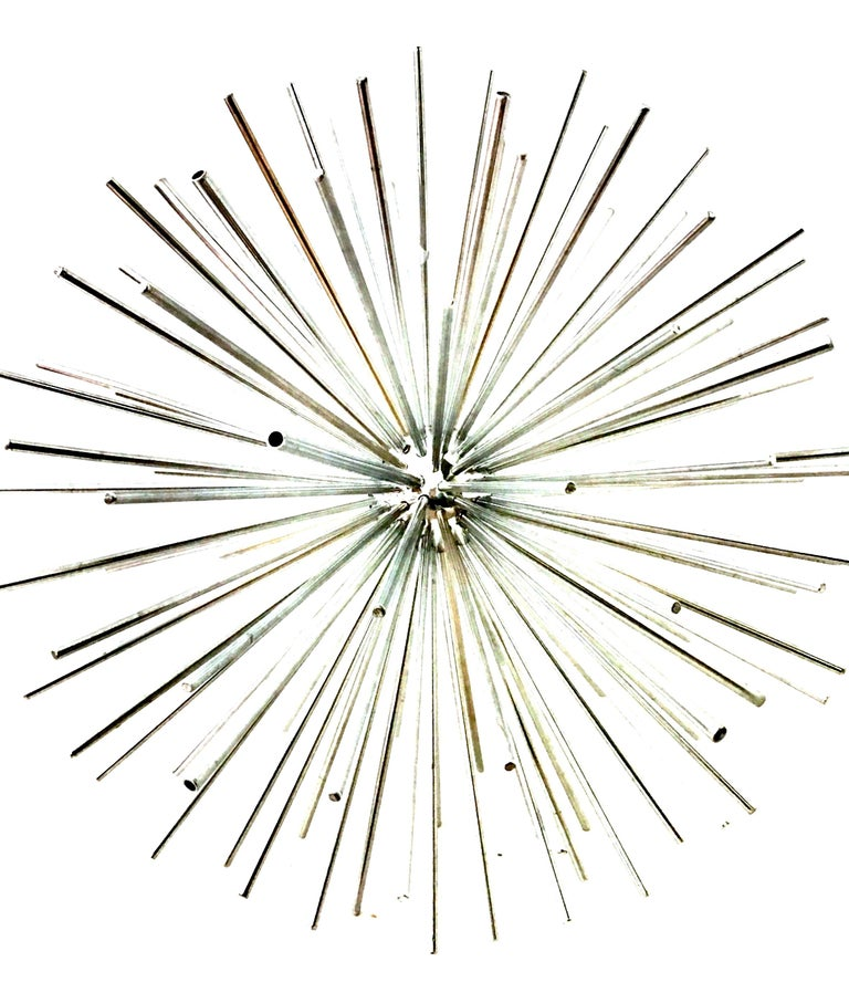21st Century Curtis Jere Large Chrome Sputnik Sculpture, Signed In Excellent Condition For Sale In West Palm Beach, FL
