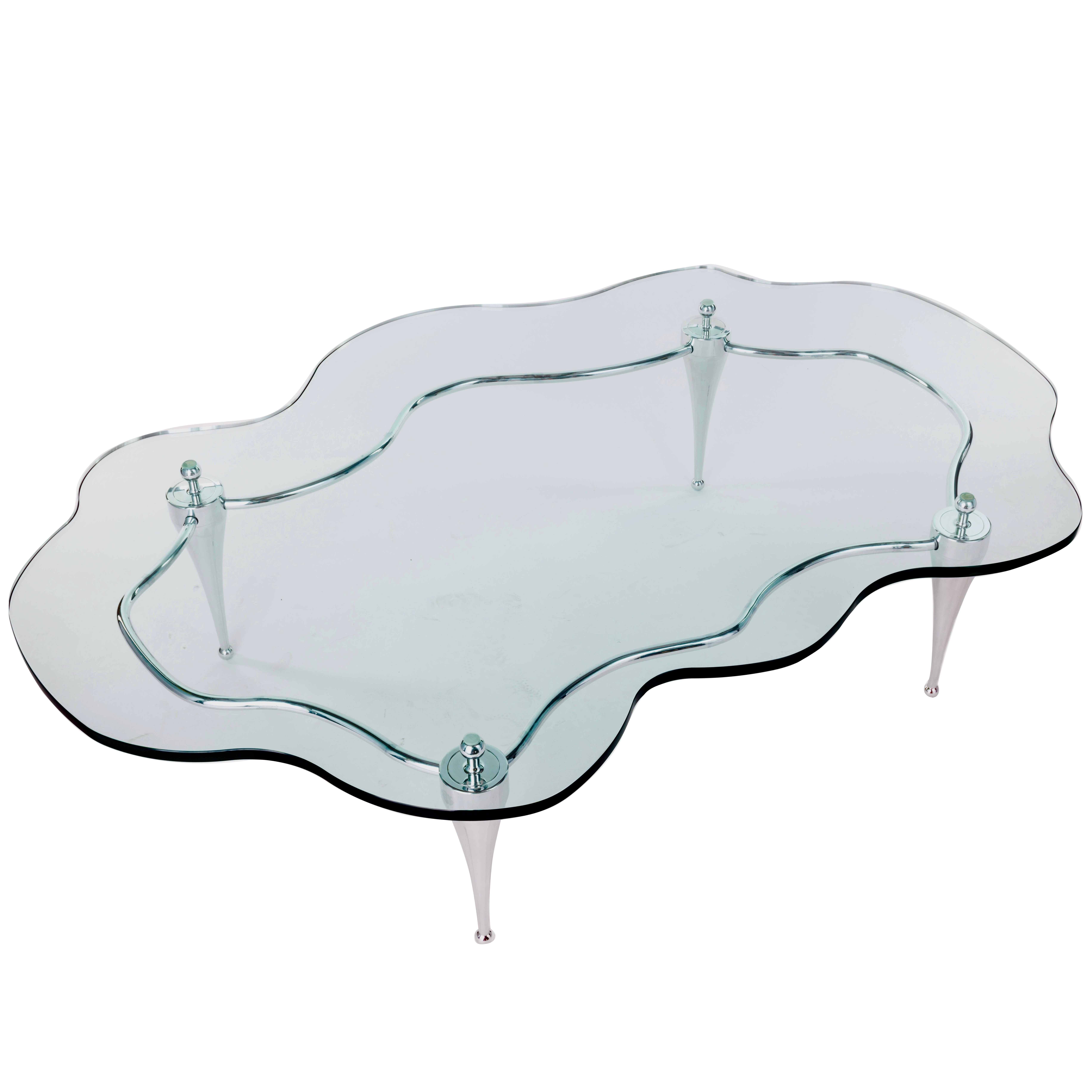 Polished Aluminum And Glass Coffee Table