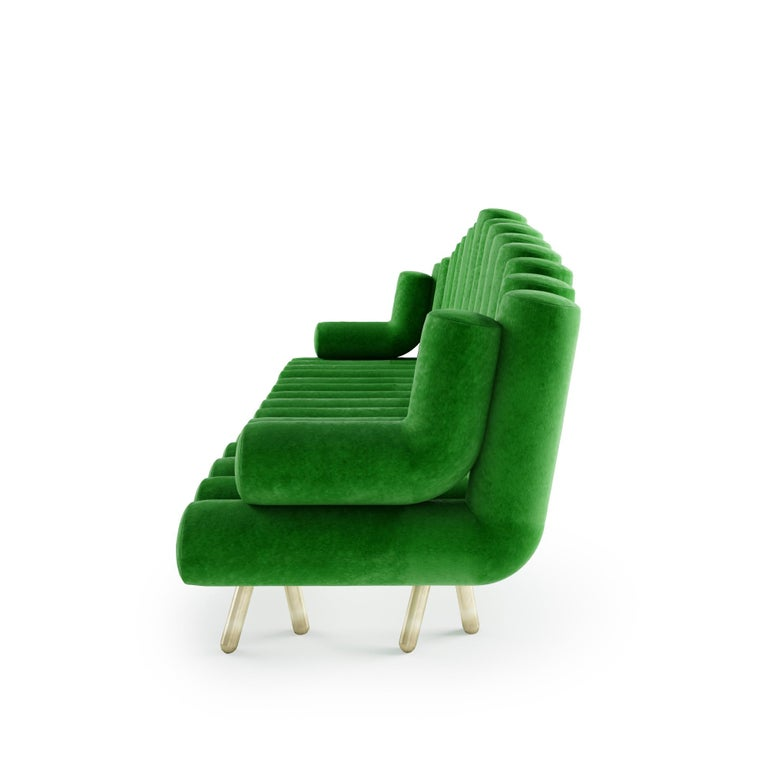 Italian Green Velvet Sofa With Brass Legs For Sale