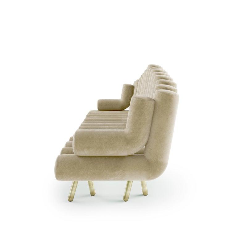 Italian Cream Velvet Sofa With Brass Legs For Sale