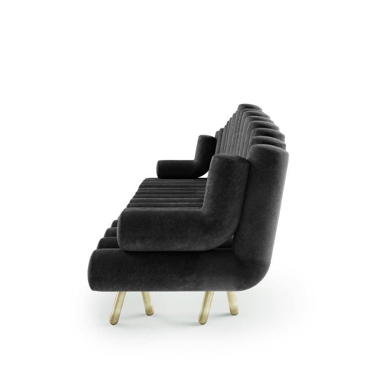 Italian Charcoal Velvet Sofa With Brass Legs For Sale