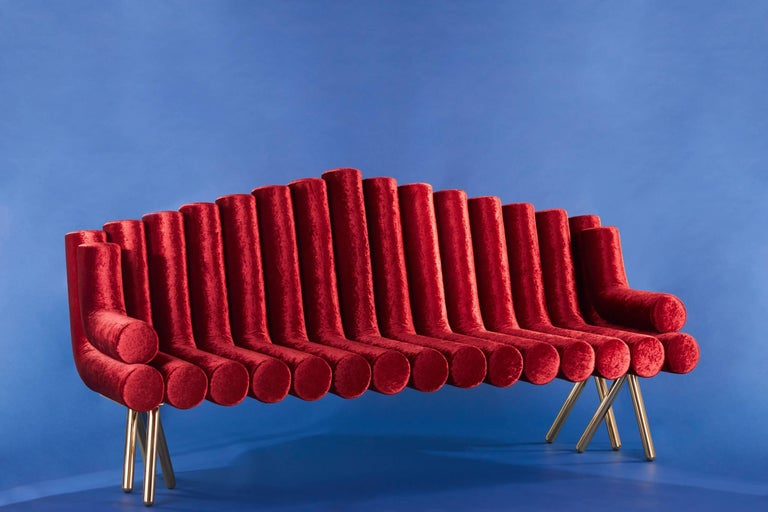 Modern 21st Century Contemporary Handmade Upholstered Brass Legged Sofa by Troy Smith For Sale