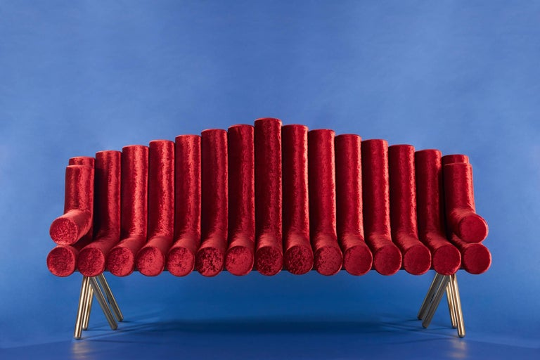 Italian 21st Century Contemporary Handmade Upholstered Brass Legged Sofa by Troy Smith For Sale
