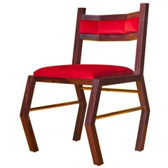 Solid Purpleheart Wood Chair With Red Velvet Upholstery And Brass