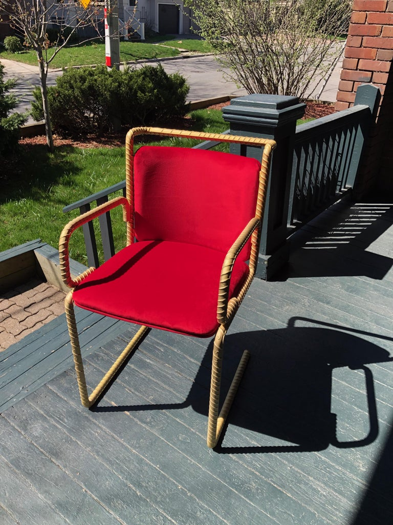 The Pharaoh lounge chair is part of the Rebar series created by artist Troy Smith. Rebar is the steel used in the forming of concrete to give it strength. Rebar is heated with acetylene torches and red-hot furnaces, skillfully sculpted by hand and