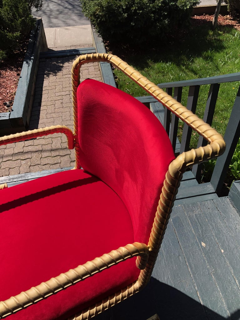 Canadian Gold Rebar Steel Chair With Red Velvet Upholstery For Sale