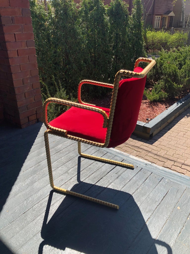 Gold Rebar Steel Chair With Red Velvet Upholstery In New Condition For Sale In Toronto, Ontario
