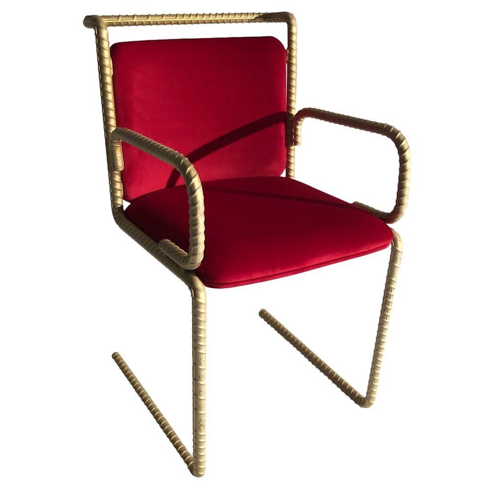 Gold Rebar Steel Chair With Red Velvet Upholstery