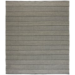 21st Century Custom Flat-Woven Wool Rug in Black and White Stripes