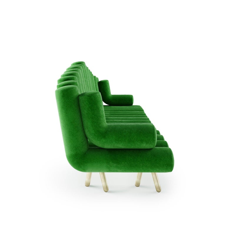 Modern Green Velvet Sofa With Brass Legs For Sale