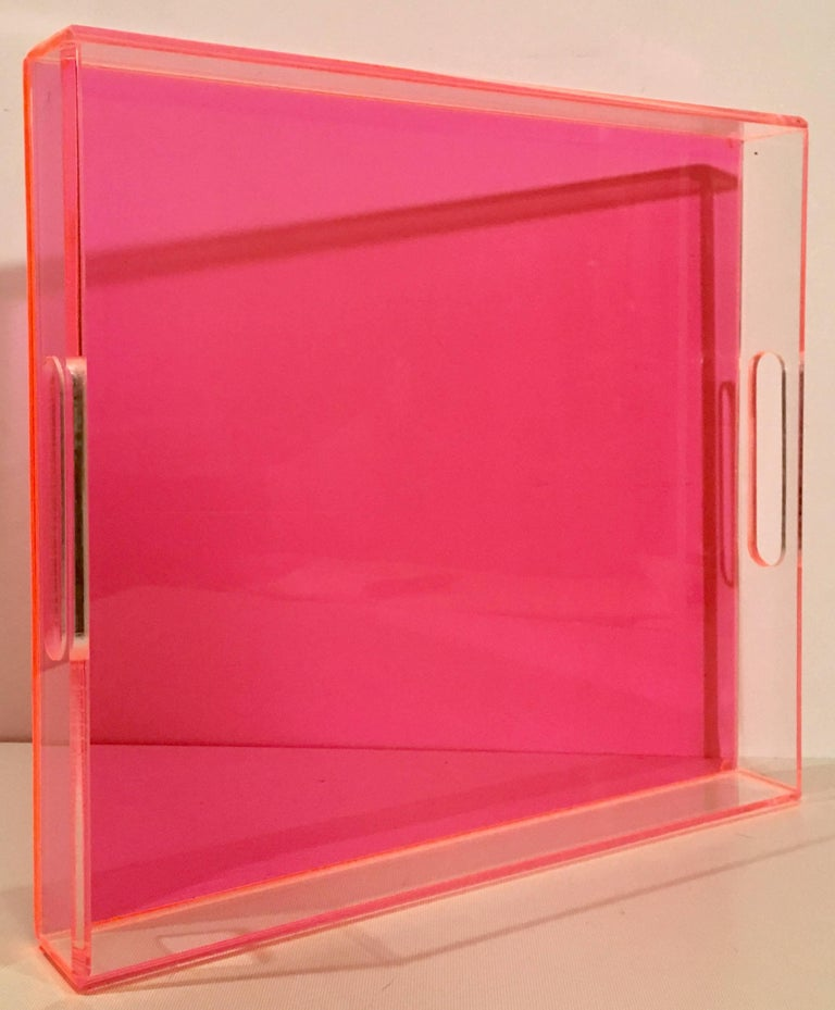Contemporary Custom Made In The Style Of Alexandra Von Furstenberg Neon Pink And Clear
