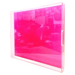 21st Century Custom Made Lucite Pink Cut Out Handle Tray
