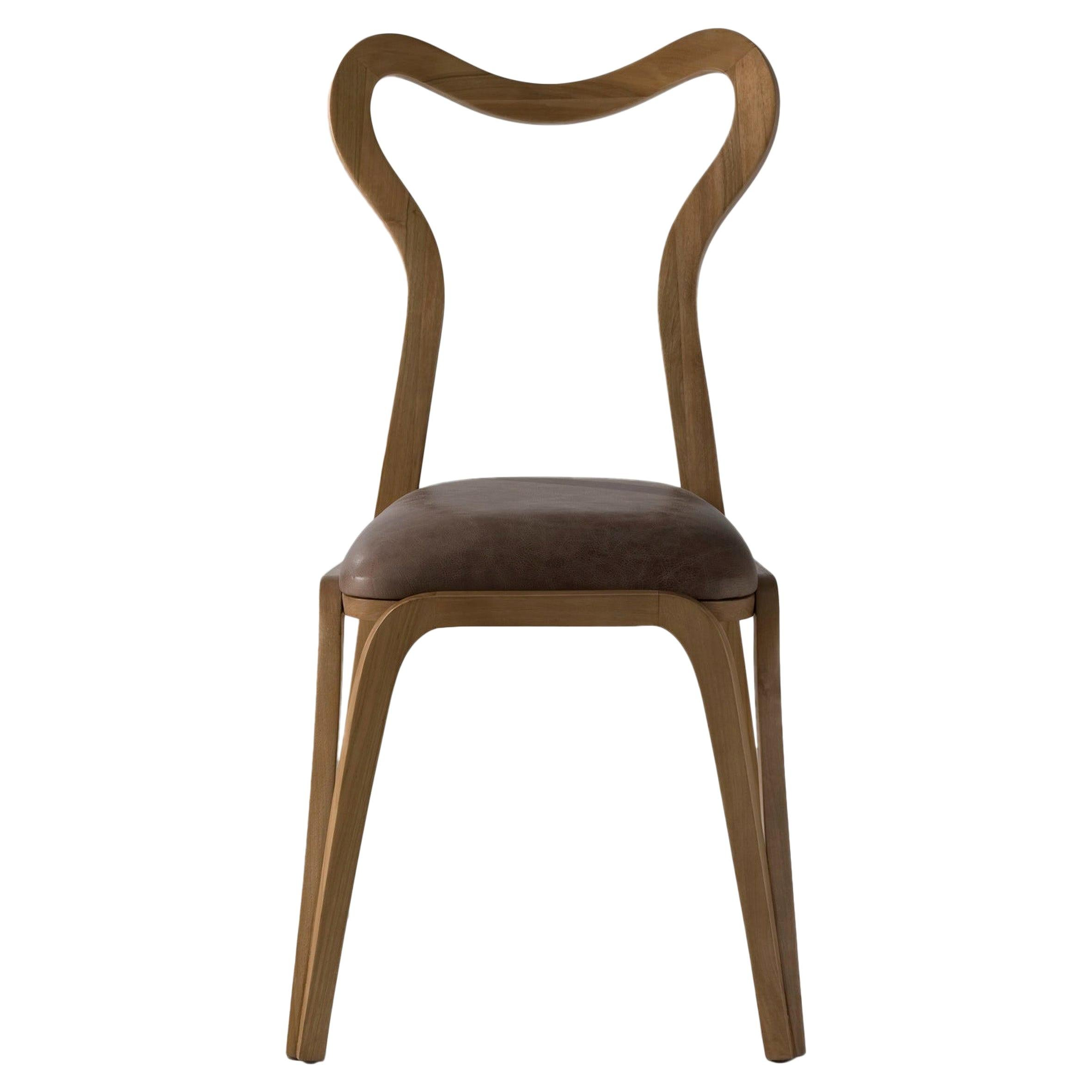 Dining Chair in Walnut Wood and with Upholstered Seat in Leather