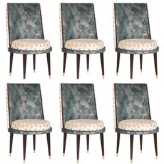 Set of 6 De Castro Chairs Blue-Green Velvet Beige Velvet Beech Polished Brass