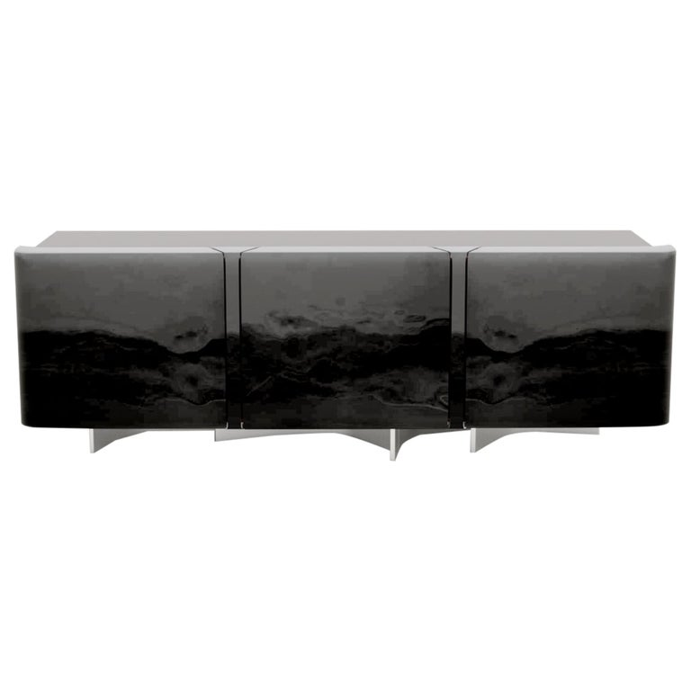 21st Century Design Sideboard with Hand Varnished French Oak Structure For Sale
