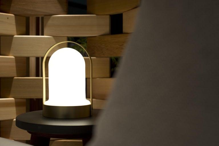 Italian 21st Century Design William Pianta Table Lamp Goncen Brushed Finish Murano Glass For Sale