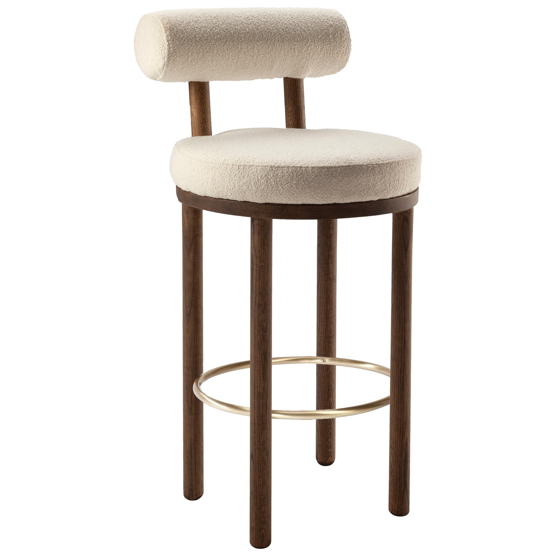 21st Century Designed by Studio Rig Moca Bar Chair Fabric Oak