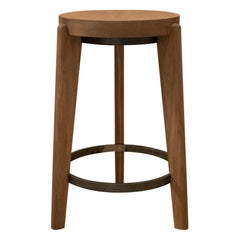 21st Century Designed Counter Stool Teak Wood Brown Metal