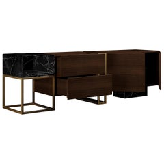 21st Century Detroit Sideboard American Walnut Nero Marquina